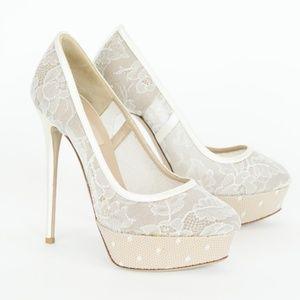Valentino Lace Platform Pumps Heels